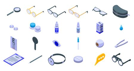 Optician icons set. Isometric set of optician vector icons for web design isolated on white background