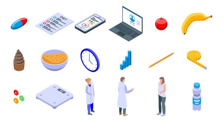 Nutritionist icons set. Isometric set of nutritionist vector icons for web design isolated on white background