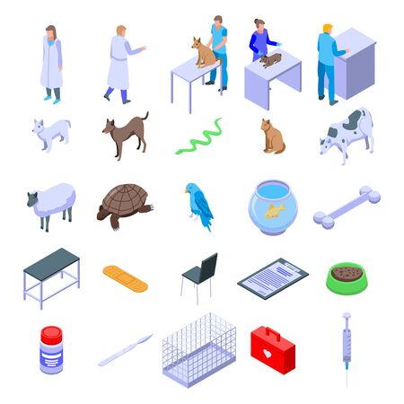 Veterinarian icons set. Isometric set of veterinarian vector icons for web design isolated on white background
