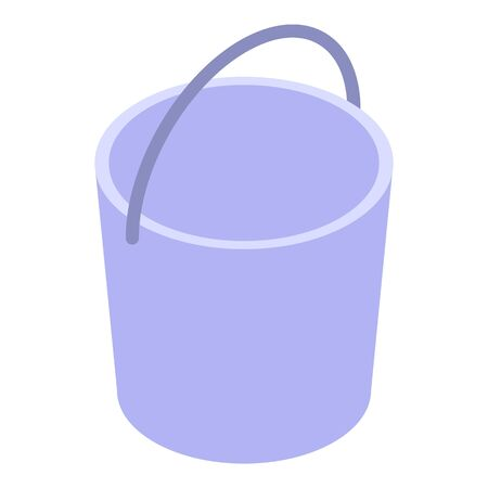 Metal bucket icon, isometric style