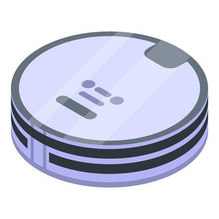 Round robot vacuum cleaner icon, isometric style Stock Illustratie