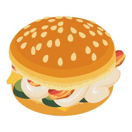 Burger bacon icon, isometric style