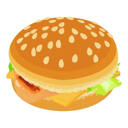 Classic cheeseburger icon, isometric style