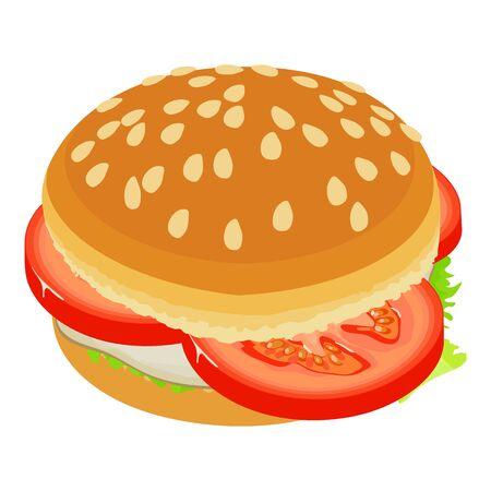 Burger tomato icon, isometric style