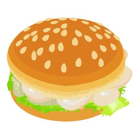 Fish burger icon, isometric style