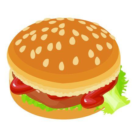 Tasty hamburger icon, isometric style Ilustracja