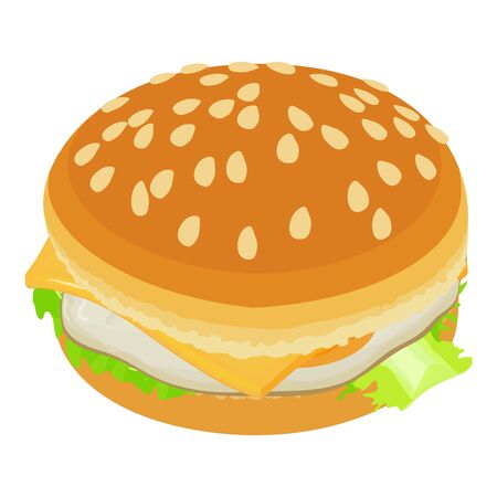 Cheeseburger icon, isometric style