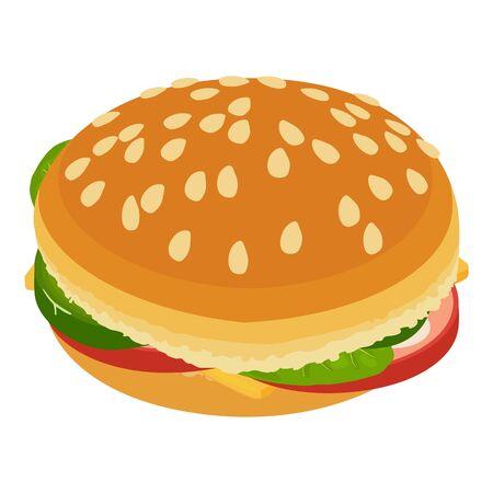 large burger icon, isometric style Ilustracja