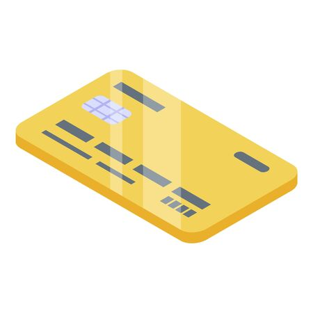 Gold credit card icon, isometric style