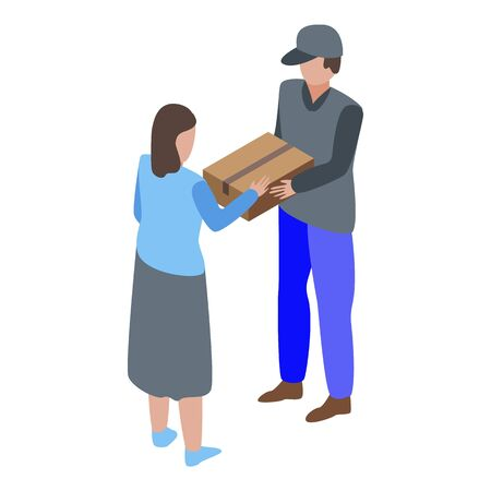 Parcel home delivery icon, isometric style