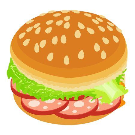 Delicious burger icon, isometric style