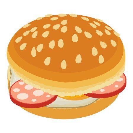 Delicious hamburger icon, isometric style