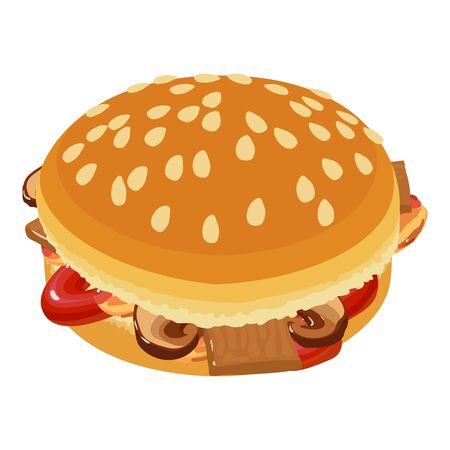 Gourmet hamburger icon, isometric style