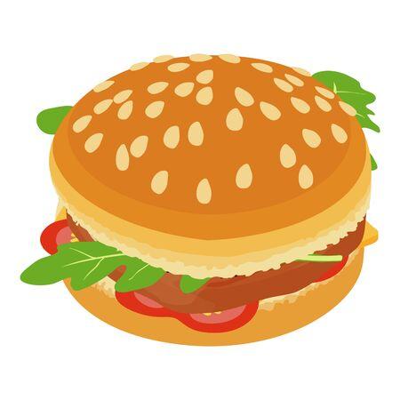 Big hamburger icon, isometric style Ilustracja