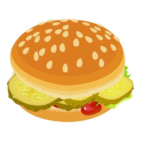 Appetizing burger icon, isometric style