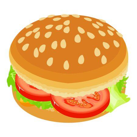 Vegan burger icon, isometric style