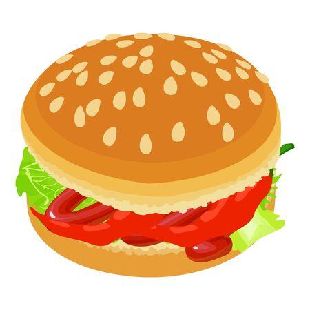 Burger vegetable icon, isometric style Ilustracja