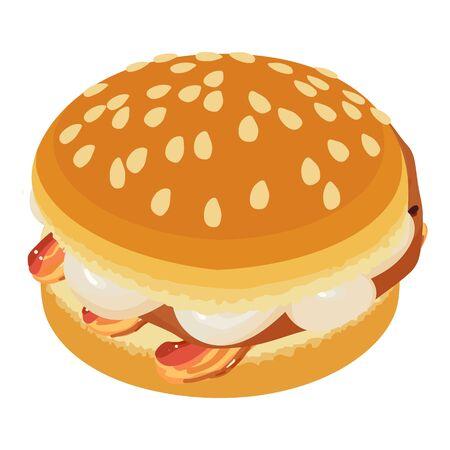 Homemade hamburger icon, isometric style