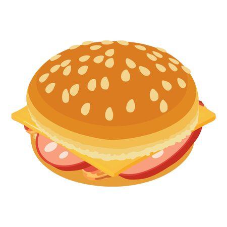 Tasty cheeseburger icon, isometric style