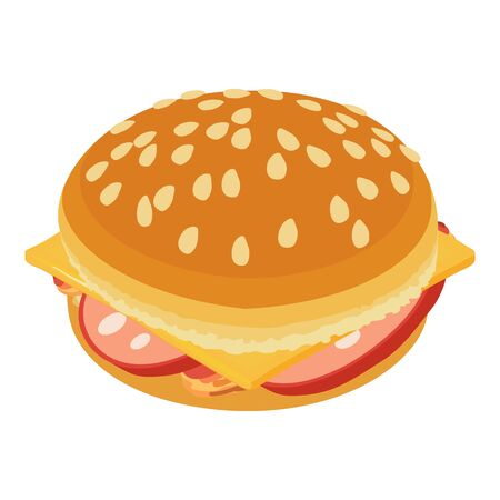 Tasty cheeseburger icon, isometric style Ilustracja