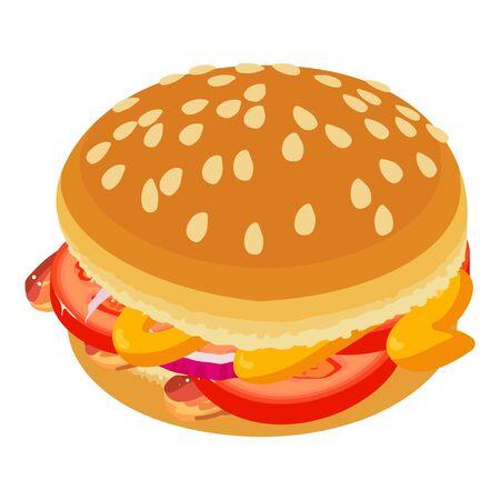 Burger icon, isometric style