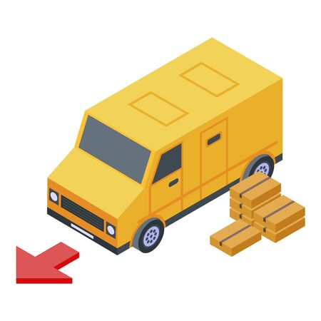 Truck parcel delivery icon, isometric style