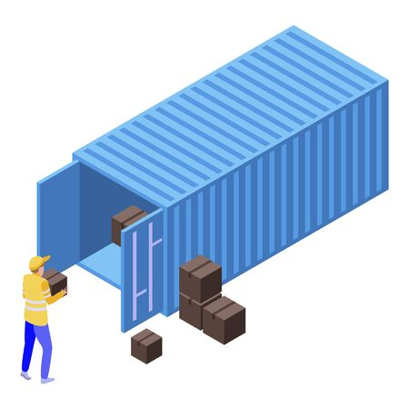 Cargo container parcel icon, isometric style 일러스트