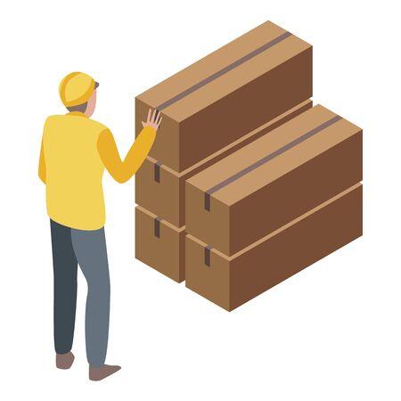 Parcel warehouse stack icon, isometric style Ilustracja