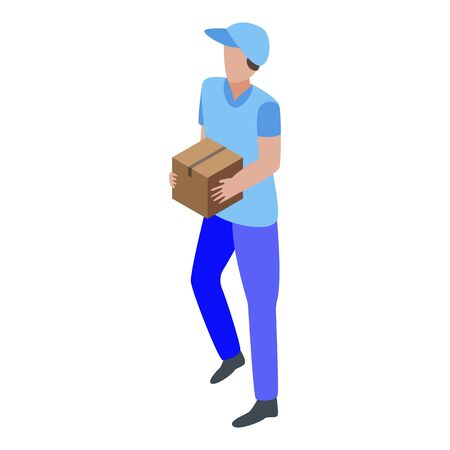 City parcel delivery icon, isometric style