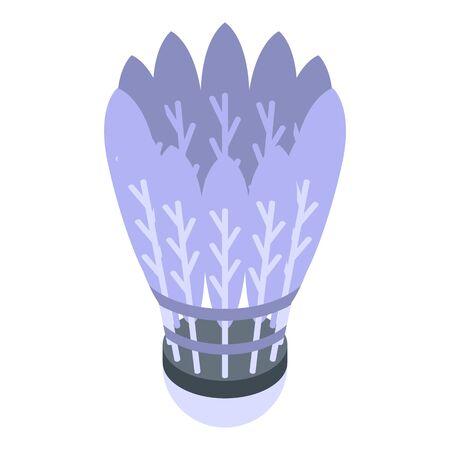 Shuttlecock icon, isometric style Ilustracja