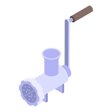 Hand meat grinder icon, isometric style
