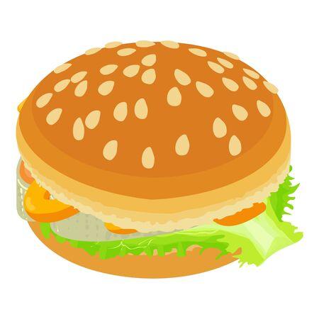 Seafood burger icon, isometric style
