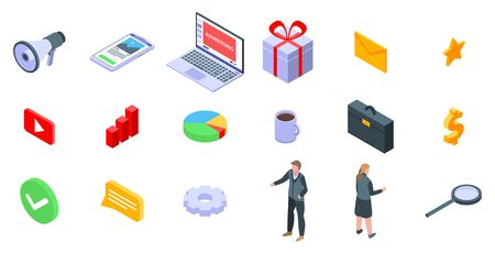 Advertising manager icons set, isometric style Vectores