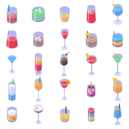 Cocktail icons set, isometric style 向量圖像