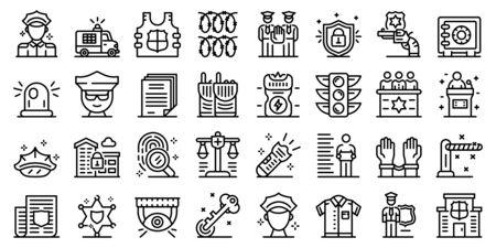 Policeman icons set, outline style Ilustracja