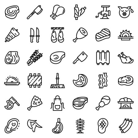 Meat icons set, outline style