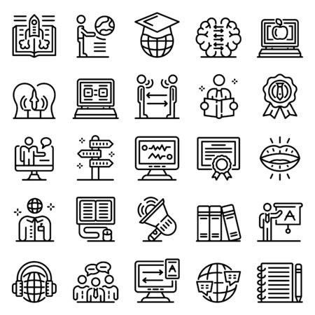 Foreign language teacher icons set, outline style