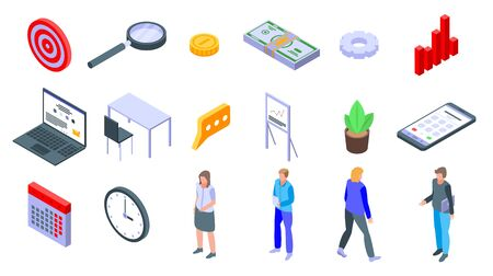 Account manager icons set. Isometric set of account manager vector icons for web design isolated on white background