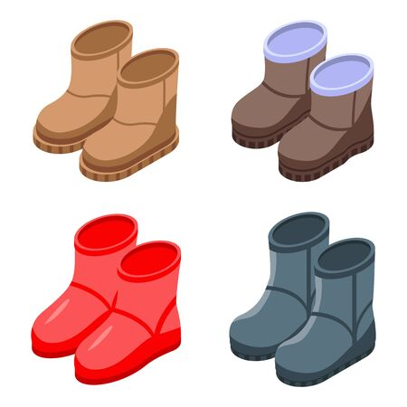 Ugg boots icons set. Isometric set of ugg boots vector icons for web design isolated on white background