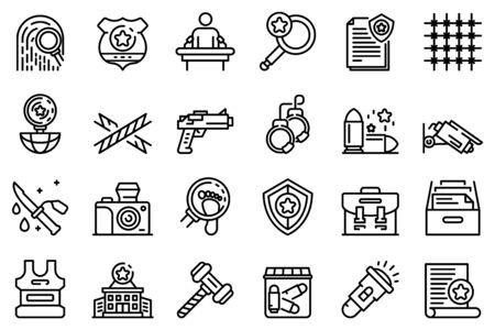 Investigator icons set. Outline set of investigator vector icons for web design isolated on white background Vektorgrafik