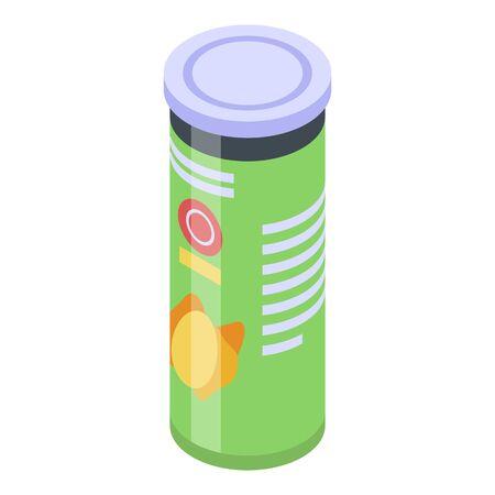 Chips potato cylinder box icon, isometric style Ilustracja