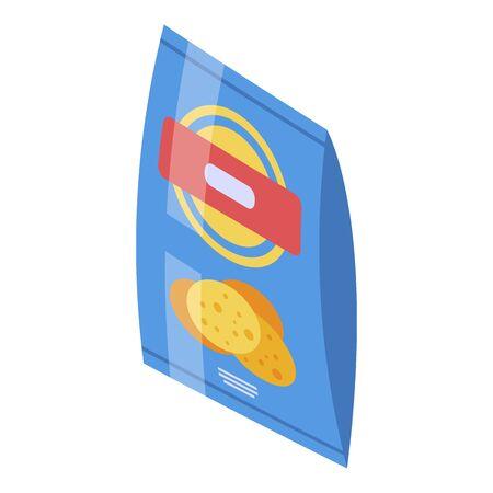 Chips potato bag icon, isometric style Ilustracja