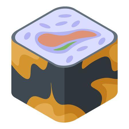 Mix sushi roll icon, isometric style