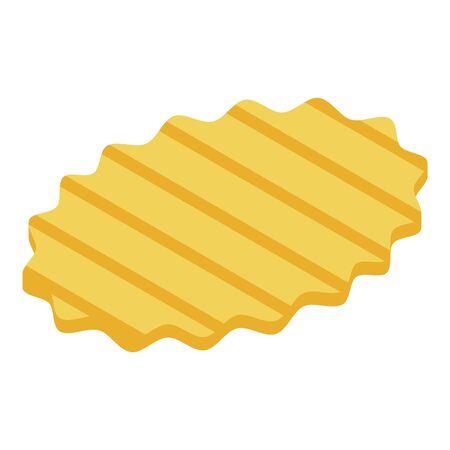 Striped chips potato icon, isometric style