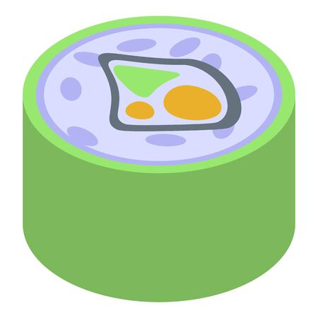 Green sushi roll icon. Isometric of green sushi roll vector icon for web design isolated on white background