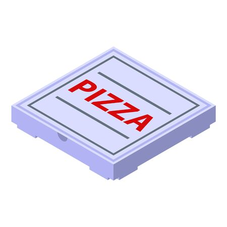 Pizza delivery box icon. Isometric of pizza delivery box vector icon for web design isolated on white background