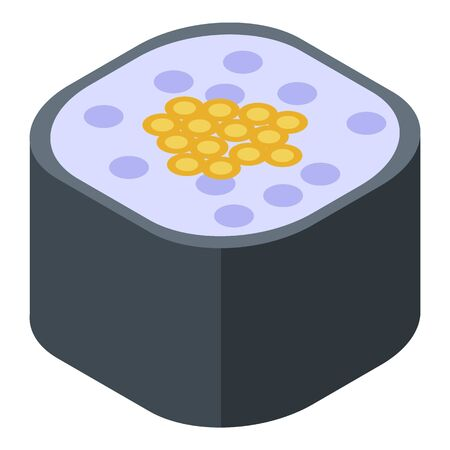 Sushi roll icon. Isometric of sushi roll vector icon for web design isolated on white background