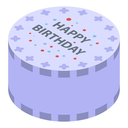 Sweet birthday cake icon. Isometric of sweet birthday cake vector icon for web design isolated on white background
