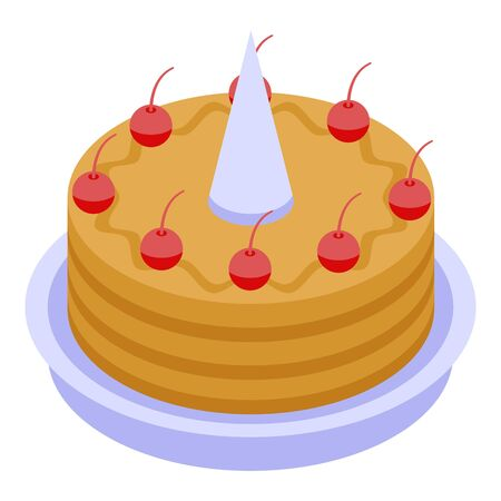 Red cherry birthday cake icon. Isometric of red cherry birthday cake vector icon for web design isolated on white background Illustration