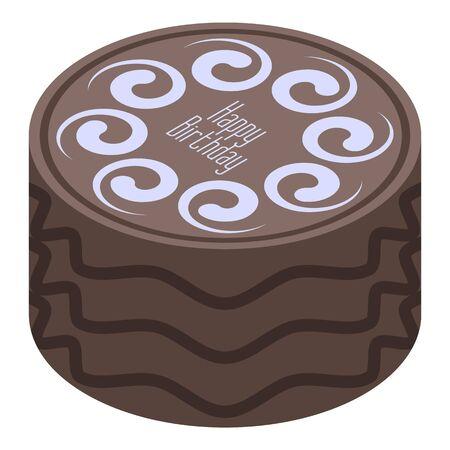 Chocolate birthday cake icon. Isometric of chocolate birthday cake vector icon for web design isolated on white background